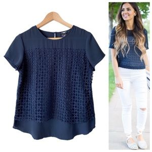 🌸 Eyelet Panel Overlay Short Sleeve Navy Blouse